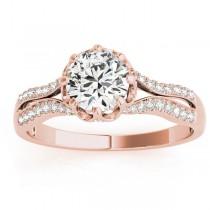 Diamond Twisted Style Engagement Ring Setting 14k Rose Gold (0.18ct)