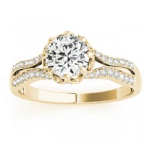 Diamond Twisted Style Engagement Ring Setting 14k Yellow Gold (0.18ct)