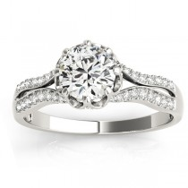 Diamond Twisted Style Engagement Ring Setting 18k White Gold (0.18ct)