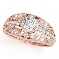 Diamond Art Deco Engagement Ring 14k Rose Gold (0.73ct)