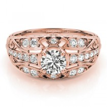 Diamond Art Deco Engagement Ring 18k Rose Gold (0.73ct)