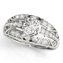 Diamond Art Deco Engagement Ring 18k White Gold (0.73ct)