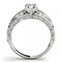 Diamond Art Deco Engagement Ring 18k White Gold (0.73ct)
