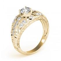 Diamond Art Deco Engagement Ring 18k Yellow Gold (0.73ct)