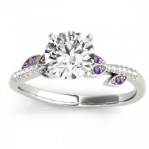 Amethyst & Diamond Vine Leaf Engagement Ring 14K White Gold (0.10ct)