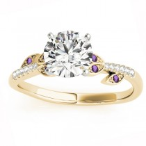 Amethyst & Diamond Vine Leaf Engagement Ring Setting 14K Yellow Gold (0.10ct)