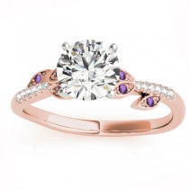 Amethyst & Diamond Vine Leaf Engagement Ring Setting 18K Rose Gold (0.10ct)