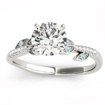 Aquamarine & Diamond Vine Leaf Engagement Ring Setting 14K White Gold (0.10ct)