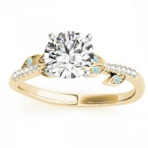 Aquamarine & Diamond Vine Leaf Engagement Ring Setting 18K Yellow Gold (0.10ct)