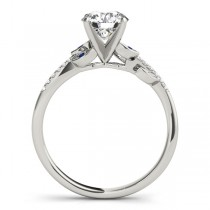Blue Sapphire & Diamond Vine Leaf Engagement Ring Setting 14K White Gold (0.10ct)