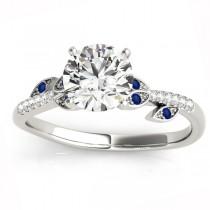 Blue Sapphire & Diamond Vine Leaf Engagement Ring Setting 18K White Gold (0.10ct)
