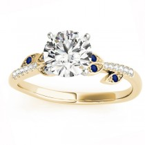 Blue Sapphire & Diamond Vine Leaf Engagement Ring Setting 18K Yellow Gold (0.10ct)