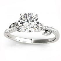 Diamond Vine Leaf Engagement Ring Setting 14K White Gold (0.10ct)