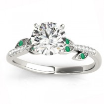 Emerald & Diamond Vine Leaf Engagement Ring Setting 14K White Gold (0.10ct)