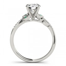 Emerald & Diamond Vine Leaf Engagement Ring Setting 14K White Gold (0.10ct)|escape