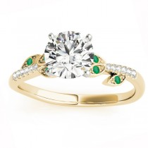 Emerald & Diamond Vine Leaf Engagement Ring Setting 14K Yellow Gold (0.10ct)