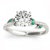 Emerald & Diamond Vine Leaf Engagement Ring Setting 18K White Gold (0.10ct)