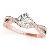 Diamond Bypass Twisted Engagement Ring 14k Rose Gold (0.68ct)