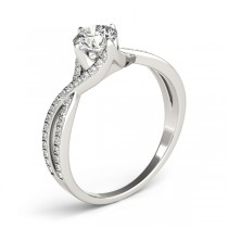 Diamond Bypass Twisted Engagement Ring 14k White Gold (0.68ct)