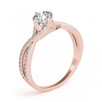 Diamond Bypass Twisted Engagement Ring 18k Rose Gold (0.68ct)
