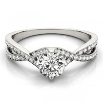 Diamond Bypass Twisted Engagement Ring 18k White Gold (0.68ct)