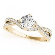 Diamond Bypass Twisted Engagement Ring 18k Yellow Gold (0.68ct)