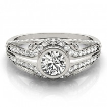 Diamond Bezel Art Nouveau Fashion Band Ring 14k White Gold (1.52ct)