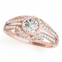 Diamond Bezel Art Nouveau Fashion Band Ring 18k Rose Gold (1.52ct)