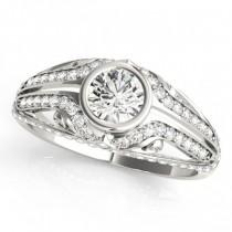 Diamond Bezel Art Nouveau Fashion Band Ring 18k White Gold (1.52ct)