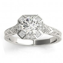 Diamond Antique Style Engagement Ring Setting 14K White Gold (0.21ct)