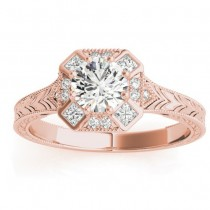 Diamond Antique Style Engagement Ring Setting 18K Rose Gold (0.21ct)