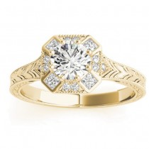 Diamond Antique Style Engagement Ring Setting 18K Yellow Gold (0.21ct)