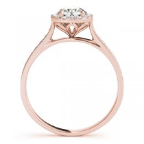 Diamond Halo Engagement Ring 14k Rose Gold (1.29ct)