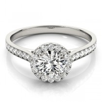 Diamond Halo Engagement Ring 14k White Gold (1.29ct)