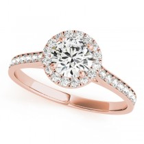 Diamond Halo Engagement Ring 18k Rose Gold (1.29ct)