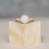 Diamond Halo Engagement Ring 18k Rose Gold (1.29ct)