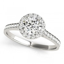 Diamond Halo Engagement Ring 18k White Gold (1.29ct)