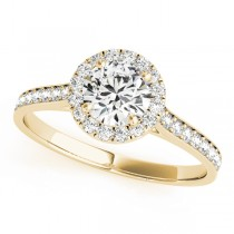 Diamond Halo Engagement Ring 18k Yellow Gold (1.29ct)