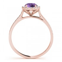 Diamond Halo Amethyst Engagement Ring 14k Rose Gold (1.29ct)