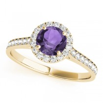 Diamond Halo Amethyst Engagement Ring 14k Yellow Gold (1.29ct)