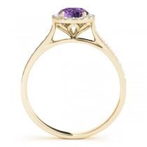 Diamond Halo Amethyst Engagement Ring 14k Yellow Gold (1.29ct)
