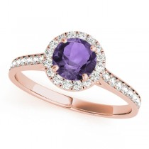 Diamond Halo Amethyst Engagement Ring 18k Rose Gold (1.29ct)