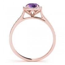 Diamond Halo Amethyst Engagement Ring 18k Rose Gold (1.29ct)