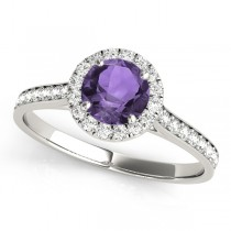 Diamond Halo Amethyst Engagement Ring 18k White Gold (1.29ct)