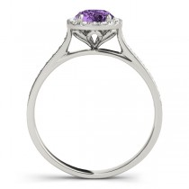 Diamond Halo Amethyst Engagement Ring Palladium (1.29ct)