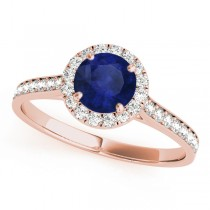 Diamond Halo Blue Sapphire Engagement Ring 14k Rose Gold (1.29ct)