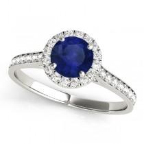 Diamond Halo Blue Sapphire Engagement Ring 14k White Gold (1.29ct)