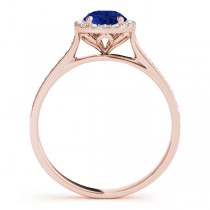 Diamond Halo Blue Sapphire Engagement Ring 18k Rose Gold (1.29ct)
