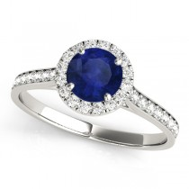 Diamond Halo Blue Sapphire Engagement Ring 18k White Gold (1.29ct)