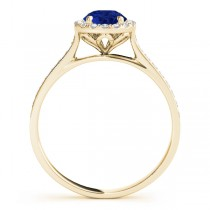 Diamond Halo Blue Sapphire Engagement Ring 18k Yellow Gold (1.29ct)